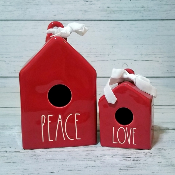Rae Dunn Peace Love Mini Birdhouse Red Christmas